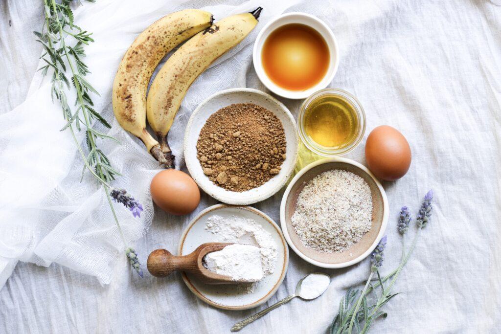 Spelt Banana Bread Ingredients, healthy baking, spelt, wheat free