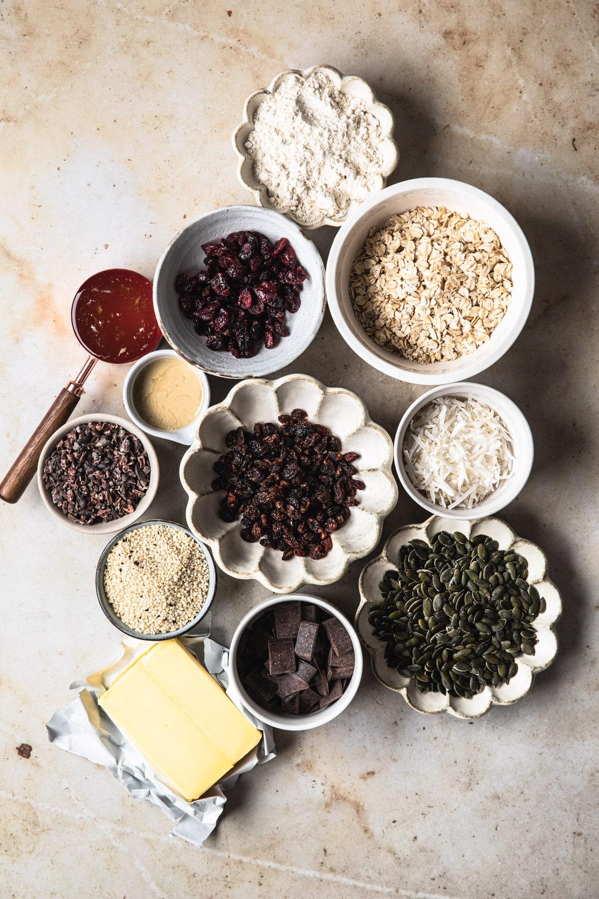 ingredients for muesli slice