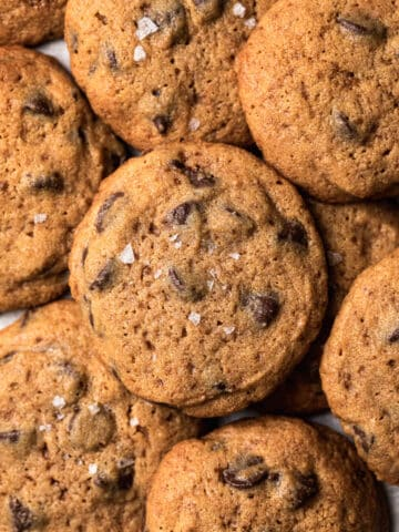 close up of spelt chocolate chip cookies