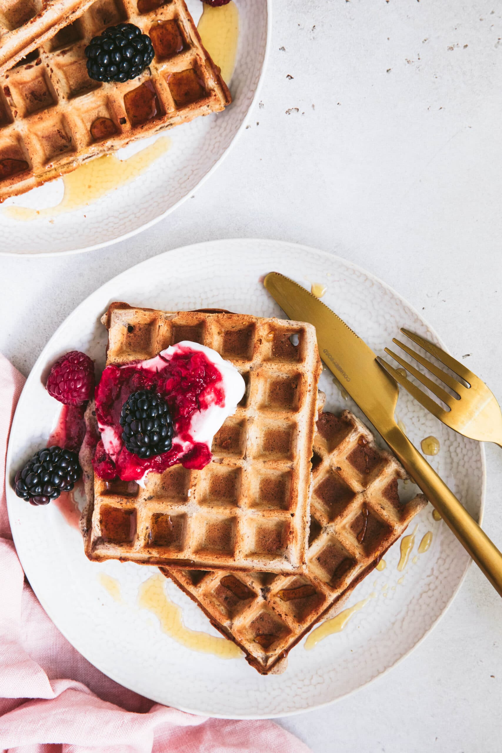 serve gluten free waffles with berries and yoghurt