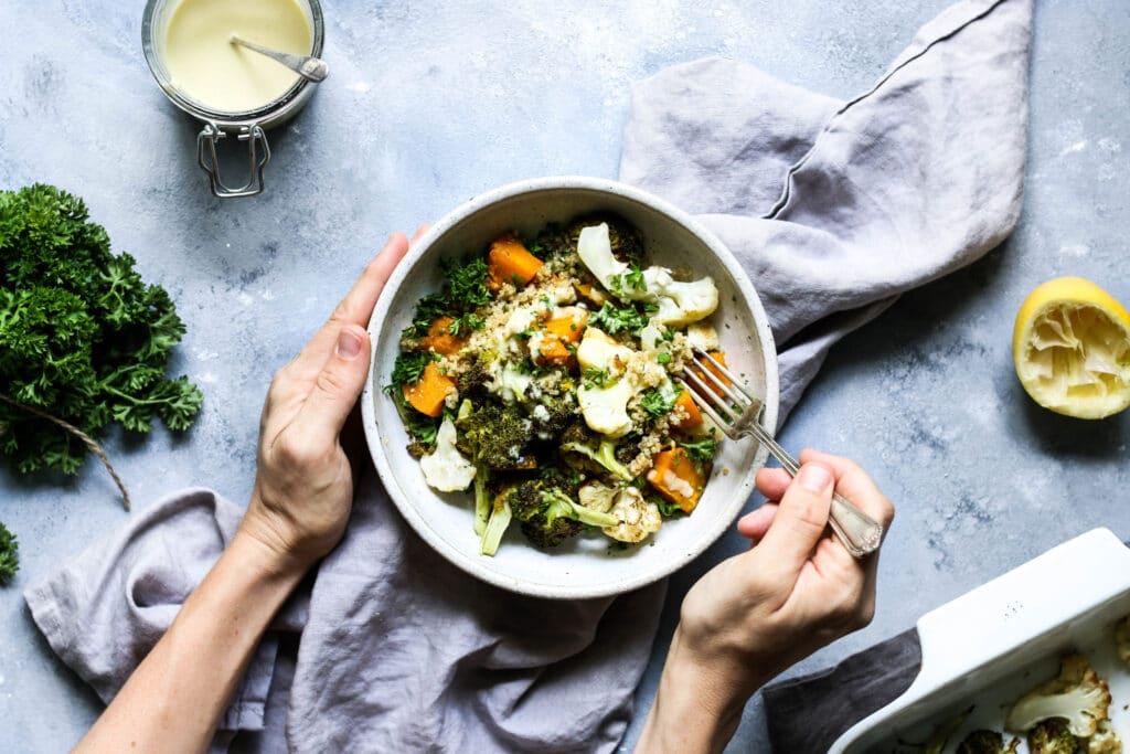 grain free salad, gluten free, dairy free, autumn salad, warm salad recipe, cauliflower salad