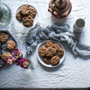 dairy free Anzac biscuit recipe, Anzac biscuits, vegan Anzac biscuit recipe, healthy baking, wholefood Anzac biscuit recipe