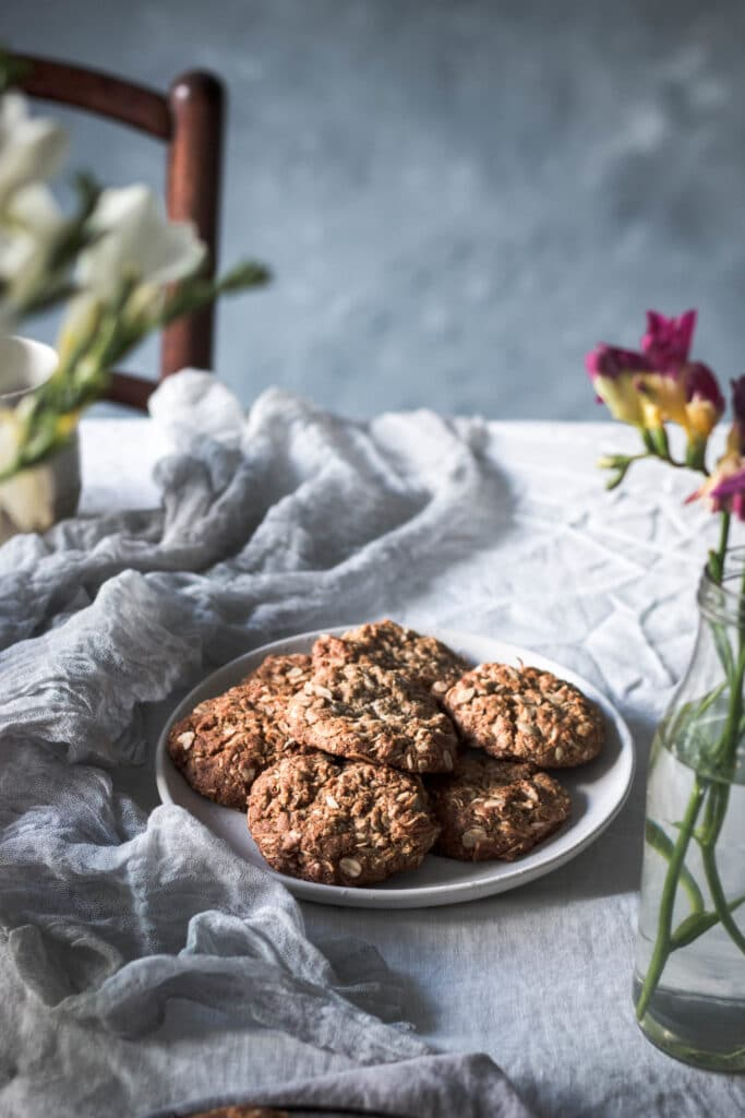 gluten free baking, dairy free Anzac biscuit recipe, wholefood baking, ancient grains