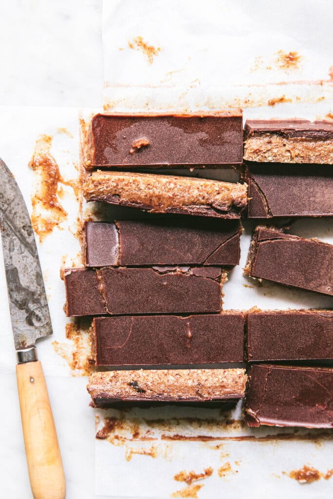 caramel slice with chocolate on top