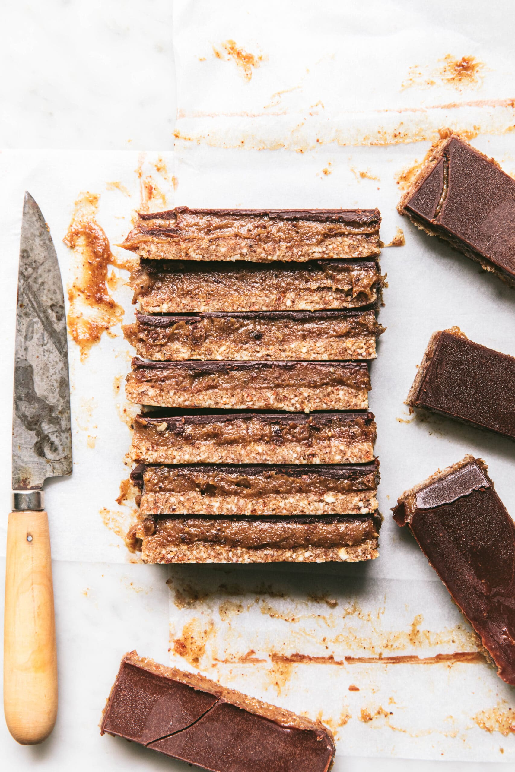 slices of raw salted caramel choc slice