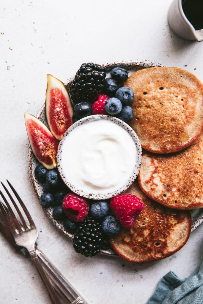 vanilla buckwheat pancake platter with blackberries, figs and blueberries
