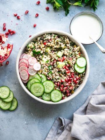 tabouleh, Christmas recipes, festive sides, quinoa salad, quinoa, gluten free, dairy free, Christmas recipes, Christmas salad recipes, gluten free salad recipes