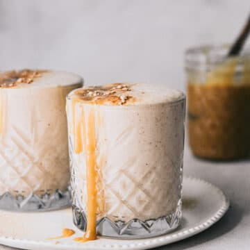 banana smoothie, smoothie recipe, caramel banana smoothie, dairy free smoothie recipe