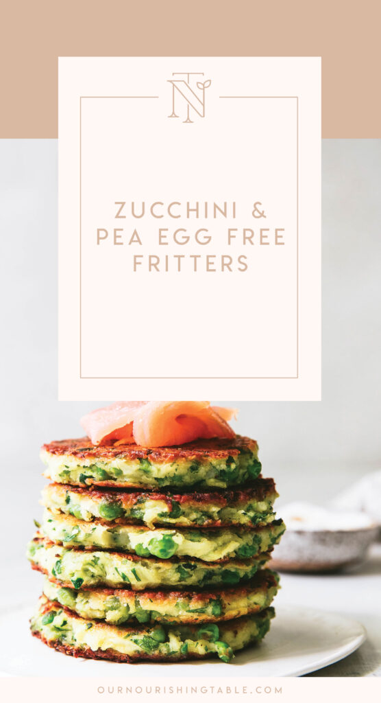 Pinterest graphic for zucchini and pea egg free fritters