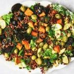 roasted vegetable and lentil salad on white platter