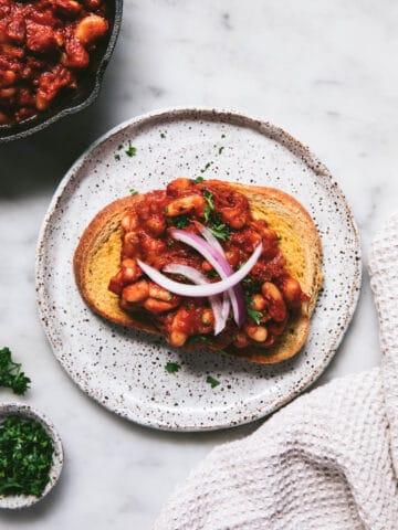 homemade baked beans served on sourdough toast