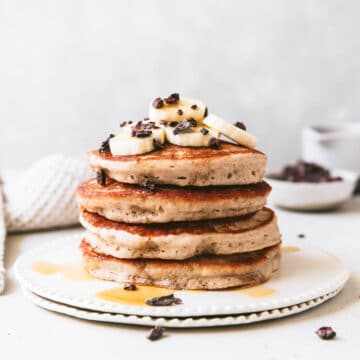 stack of banana buckwheat pancakes