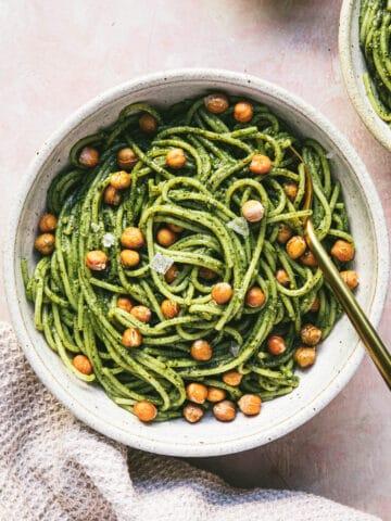 bowl of pesto spaghetti with chickpeas