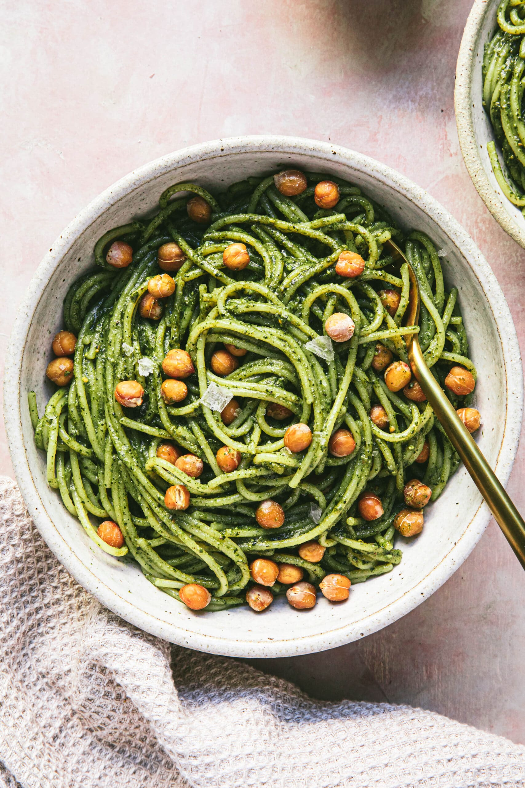 bowl of pesto spaghetti with chickpeas