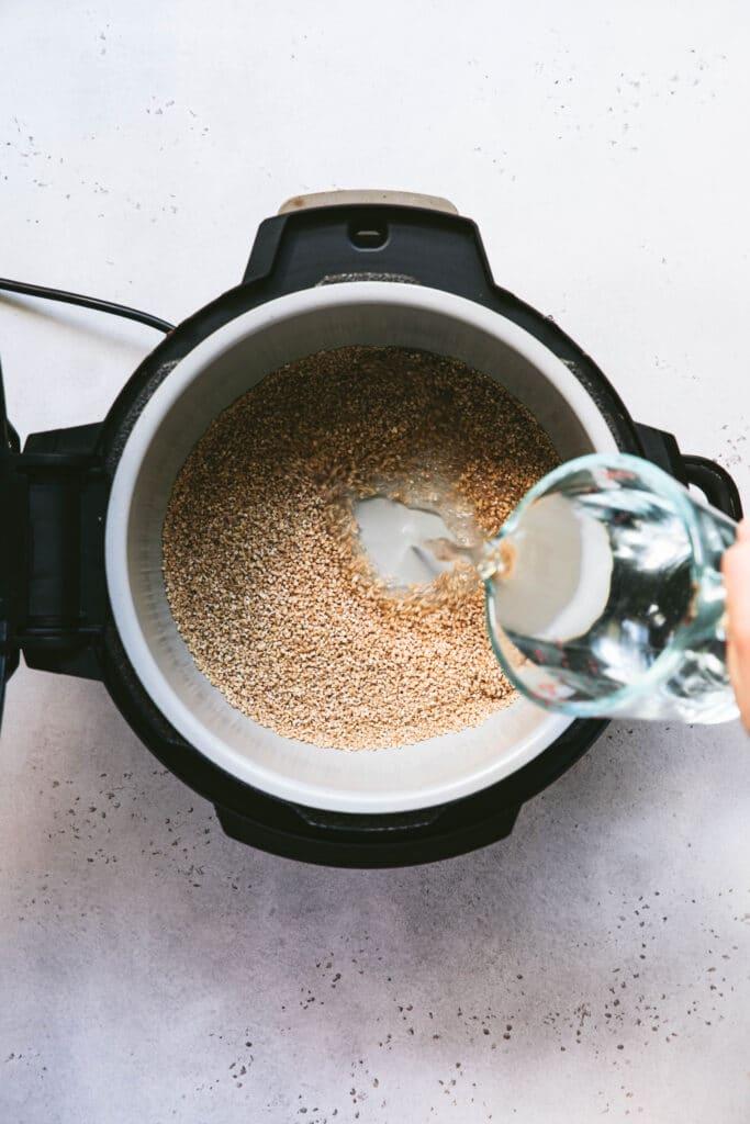 adding water to steel cut oats in ninja foodi pressure cooker