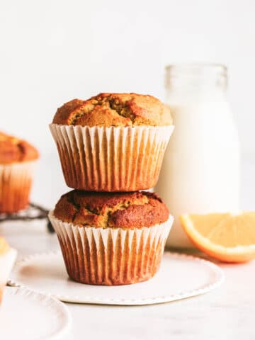 two gluten free muffins stacked on top of each other
