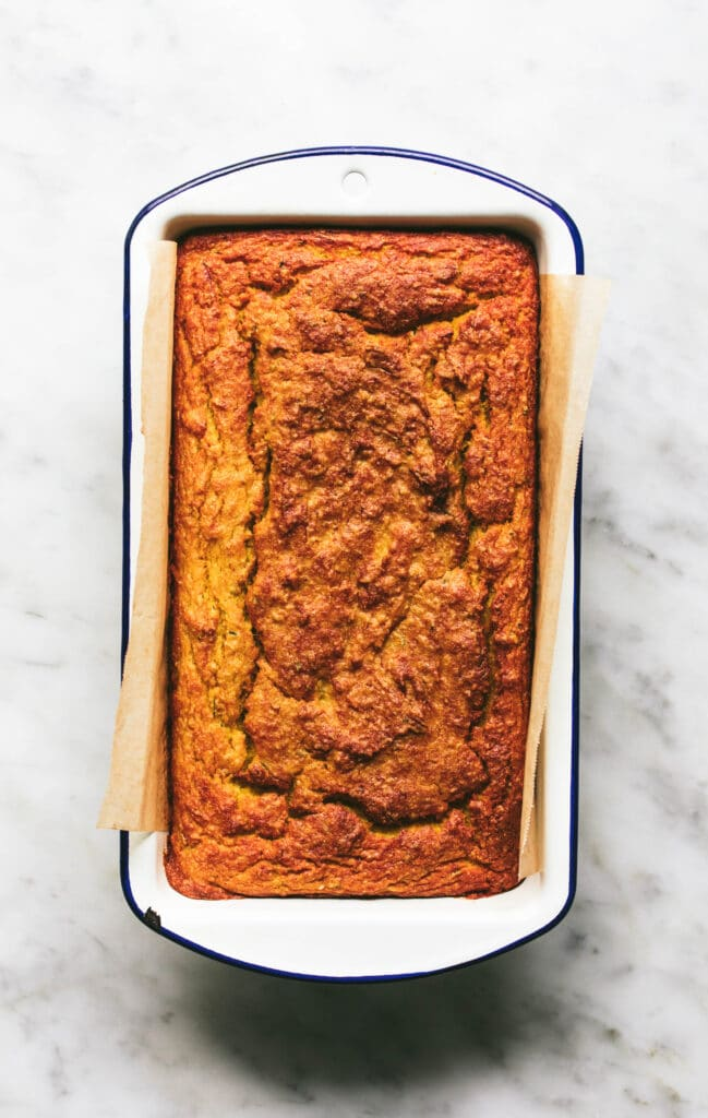 Pumpkin & Zucchini Bread in  loaf tin