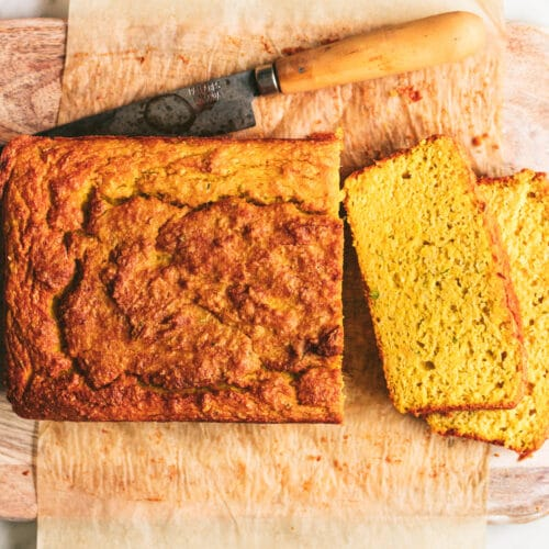 sliced savoury zucchini and pumpkin bread recipe