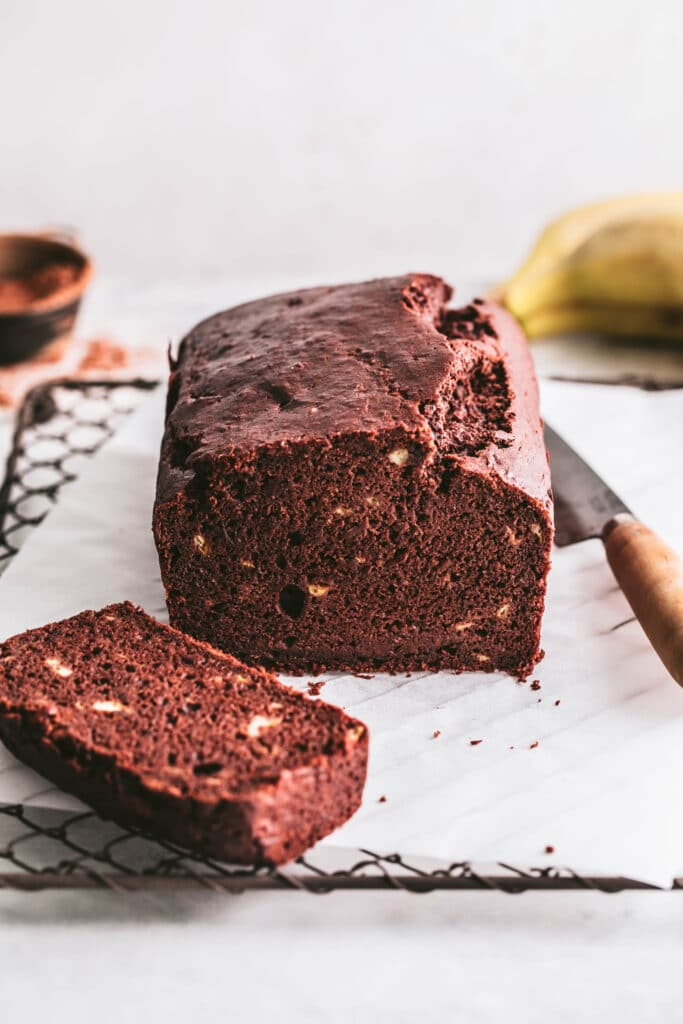 vegan chocolate banana bread sliced