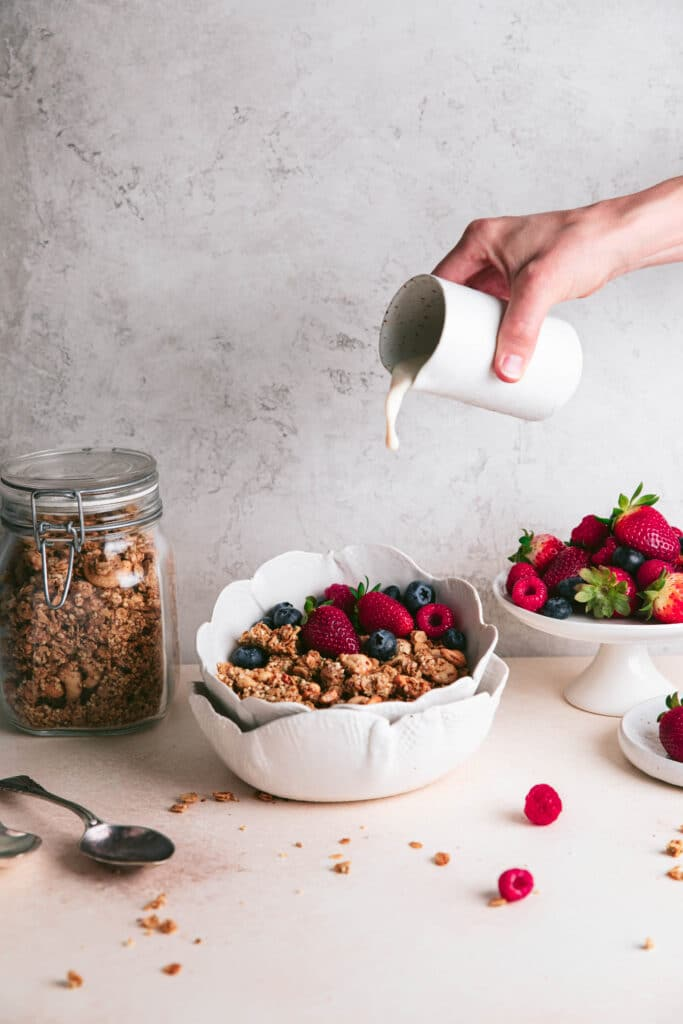 healthy granola served with milk