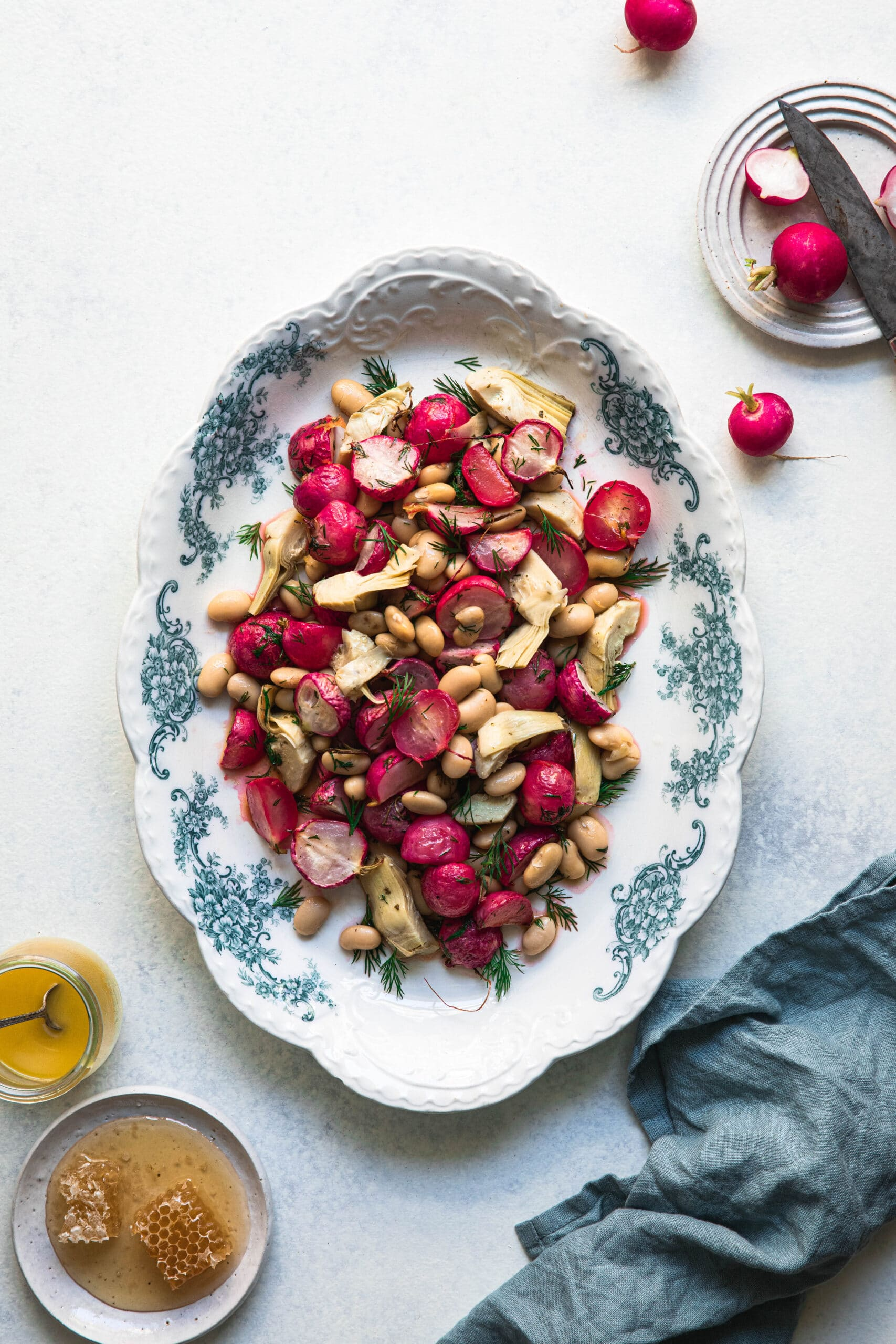 roasted radishes with broad beans and artichoke hearts with lemon vinaigrette