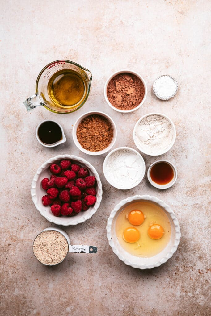 ingredients for chocolate raspberry loaf