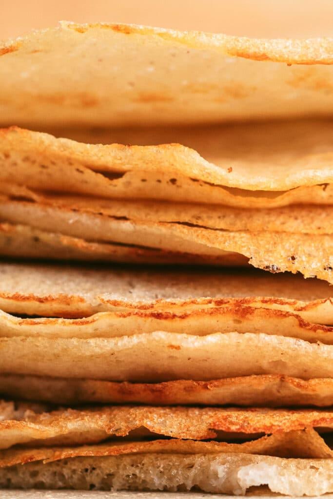 macro image of gluten free crepes