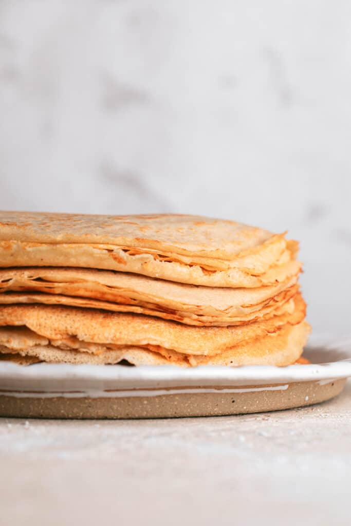 stack of dairy free crepes on plate