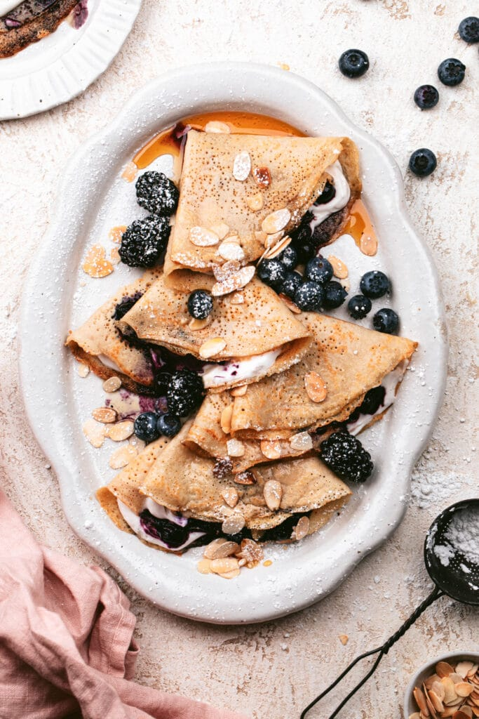 almond flour crepes with blueberries
