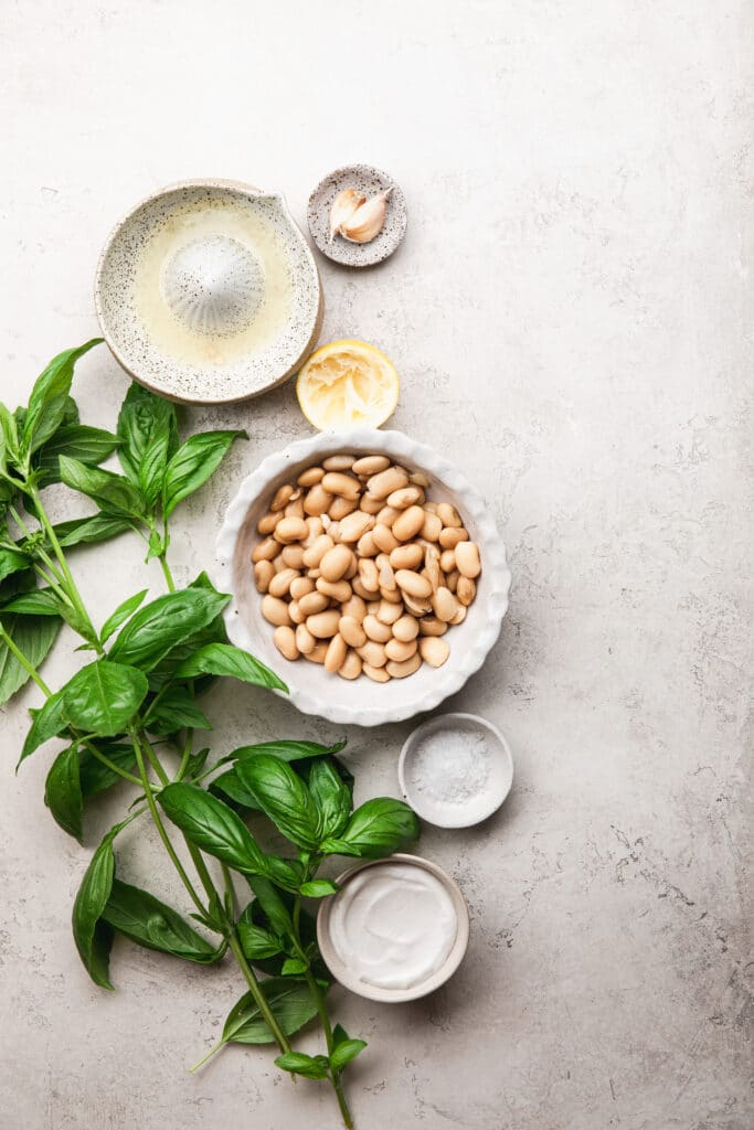 ingredients for white bean spread