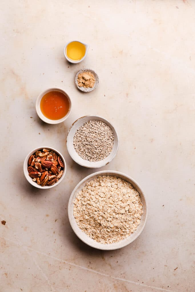 ingredients for honey and ginger toasted granola