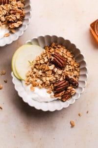 honey, ginger and pecan granola bowl