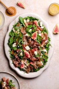 healthy salad recipe with figs, prosciutto and goats chèvre