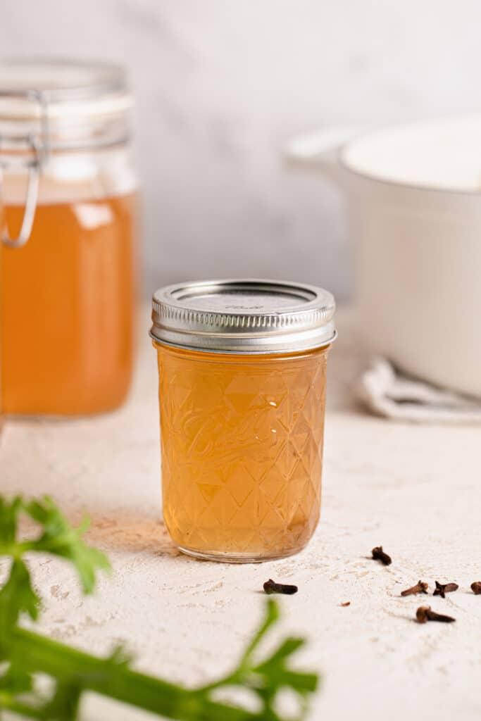 homemade vegetable stock in mason jars