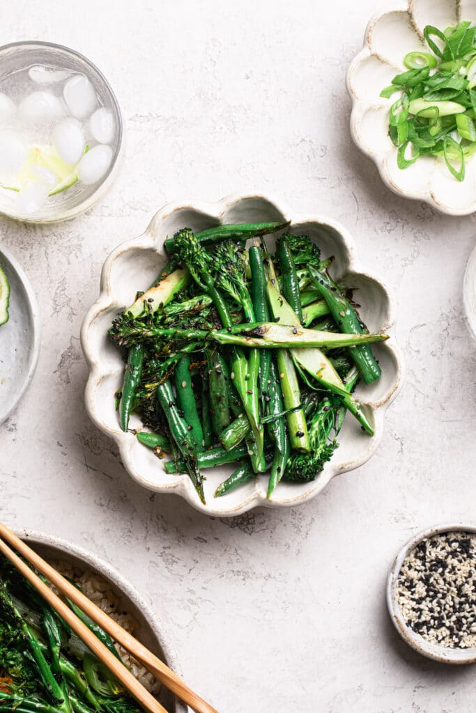 stir fried green beans and broccolini in a bowl