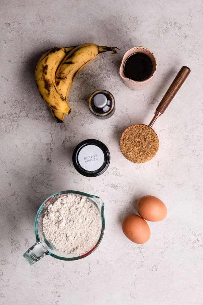 ingredients needed for making oat flour banana bread
