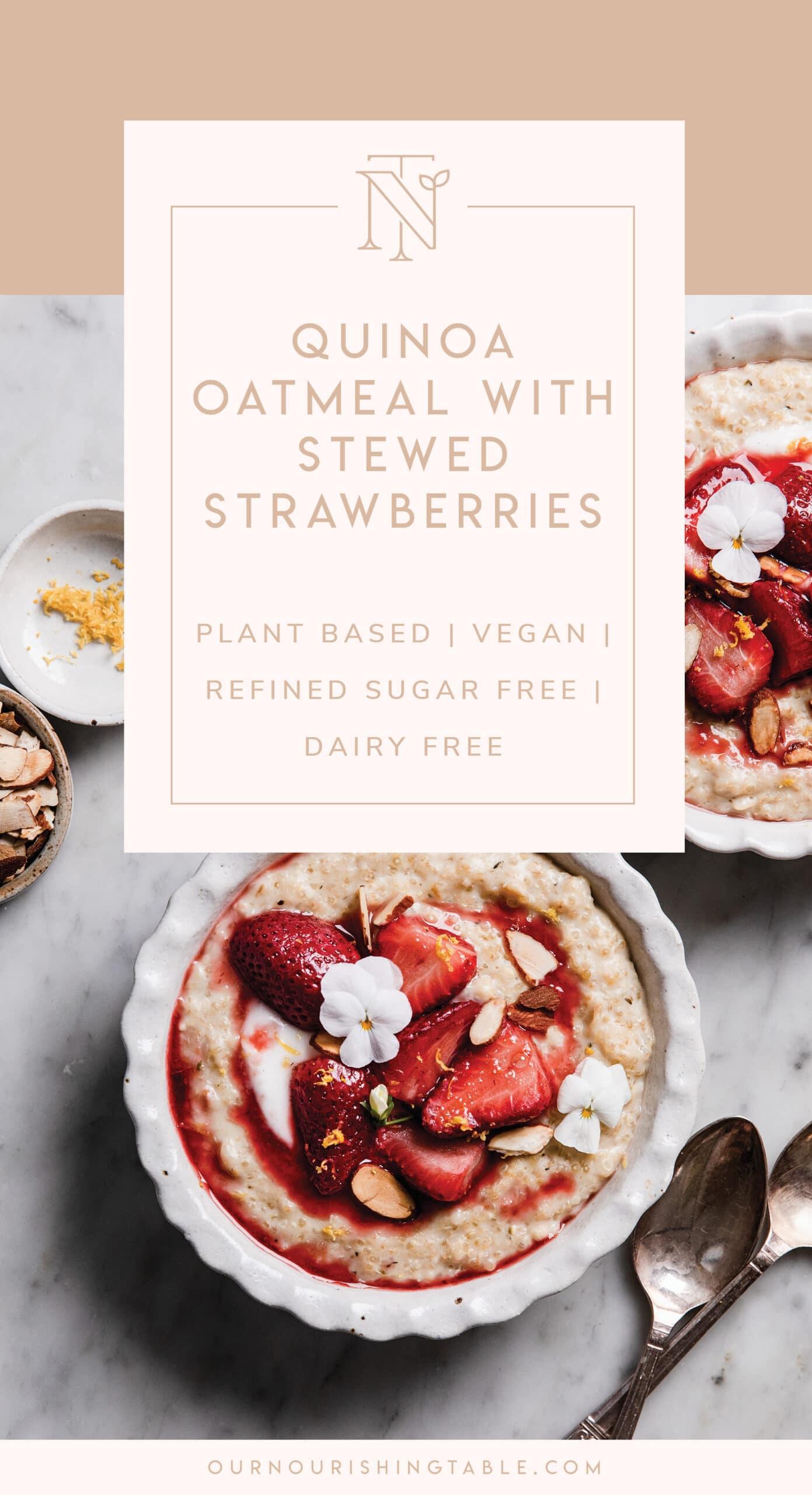 warming quinoa porridge with stewed strawberries Pinterest graphic