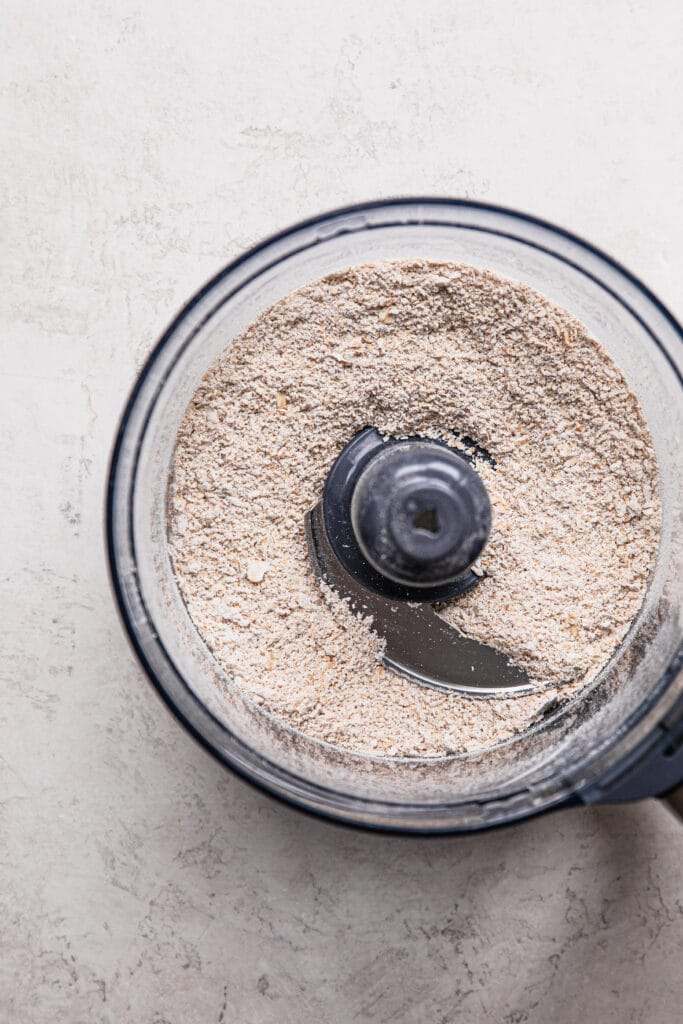 blended rolled oats in food processor