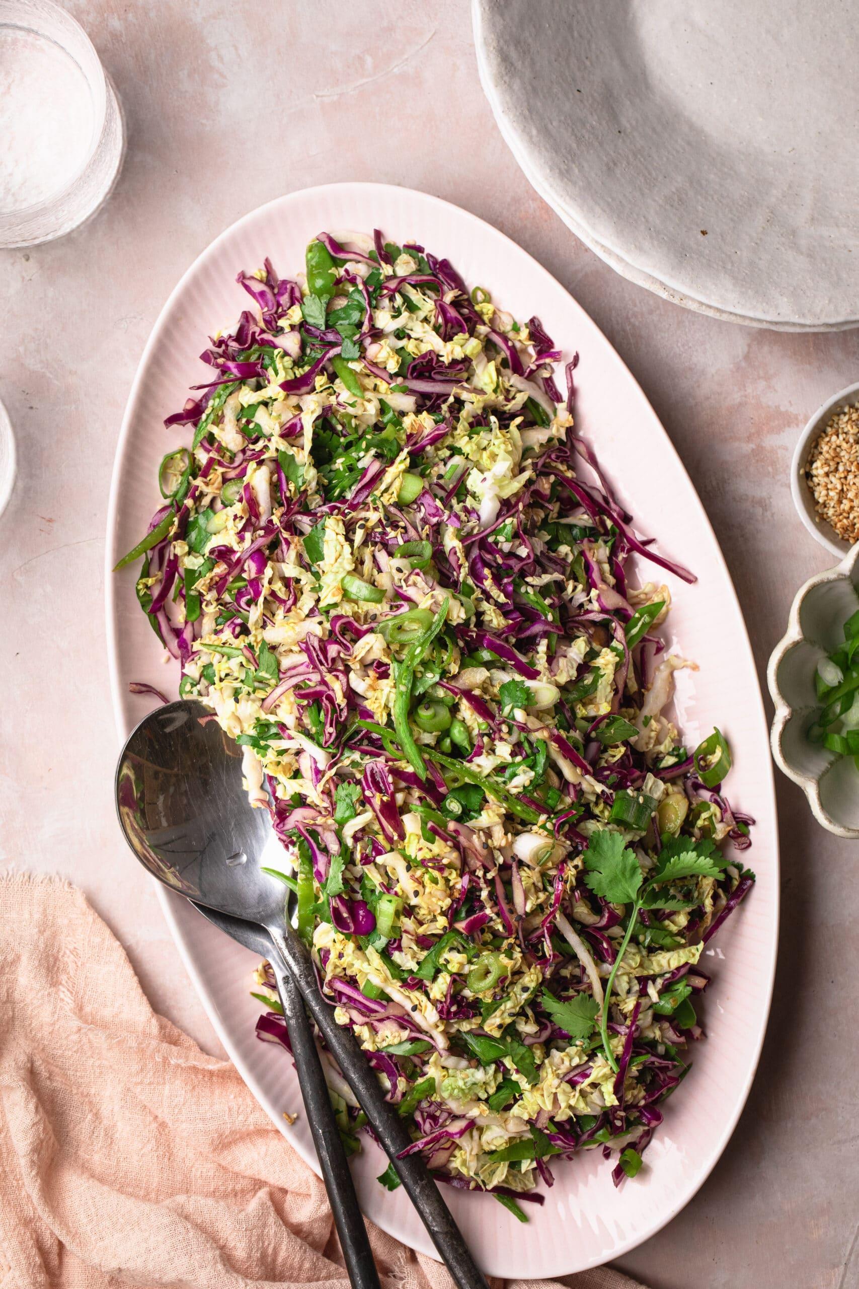 asian style coleslaw on pink serving platter