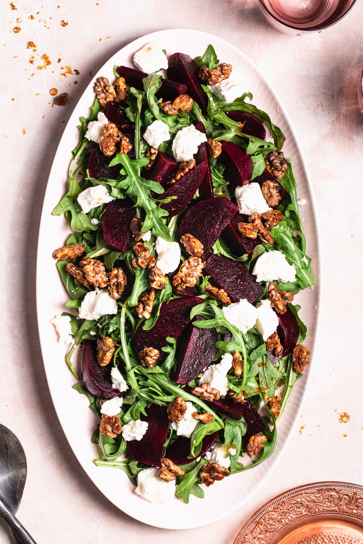 beetroot salad with goats cheese and candied walnuts