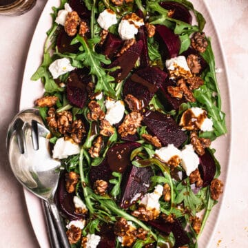 beetroot salad with candied walnuts, goats chèvre and honey balsamic dressing