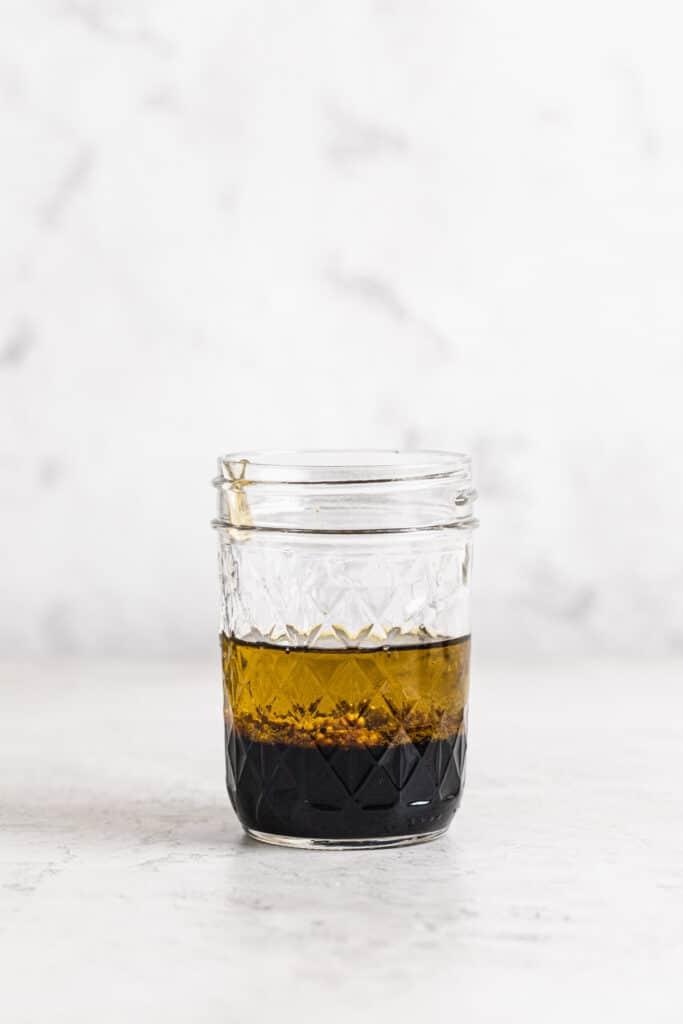 extra virgin olive oil, wholegrain mustard, honey, sea salt and balsamic vinegar in small jar