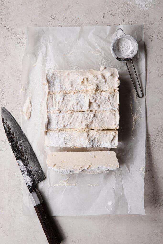 slice set marshmallow into cubes
