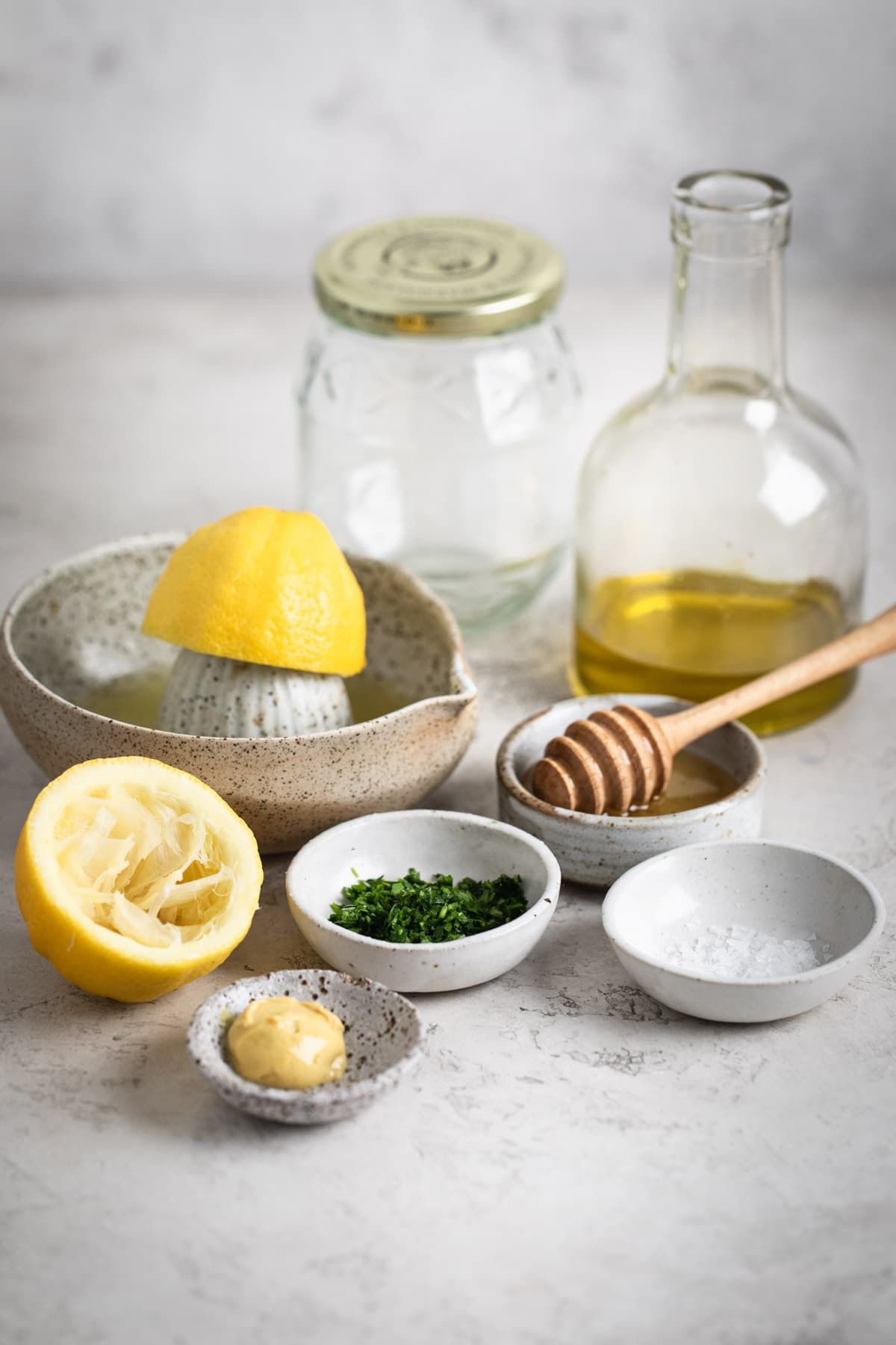 ingredients laid out for lemon herb dressing