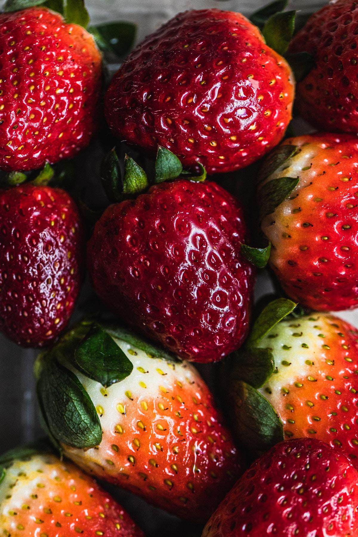 macro image of strawberries
