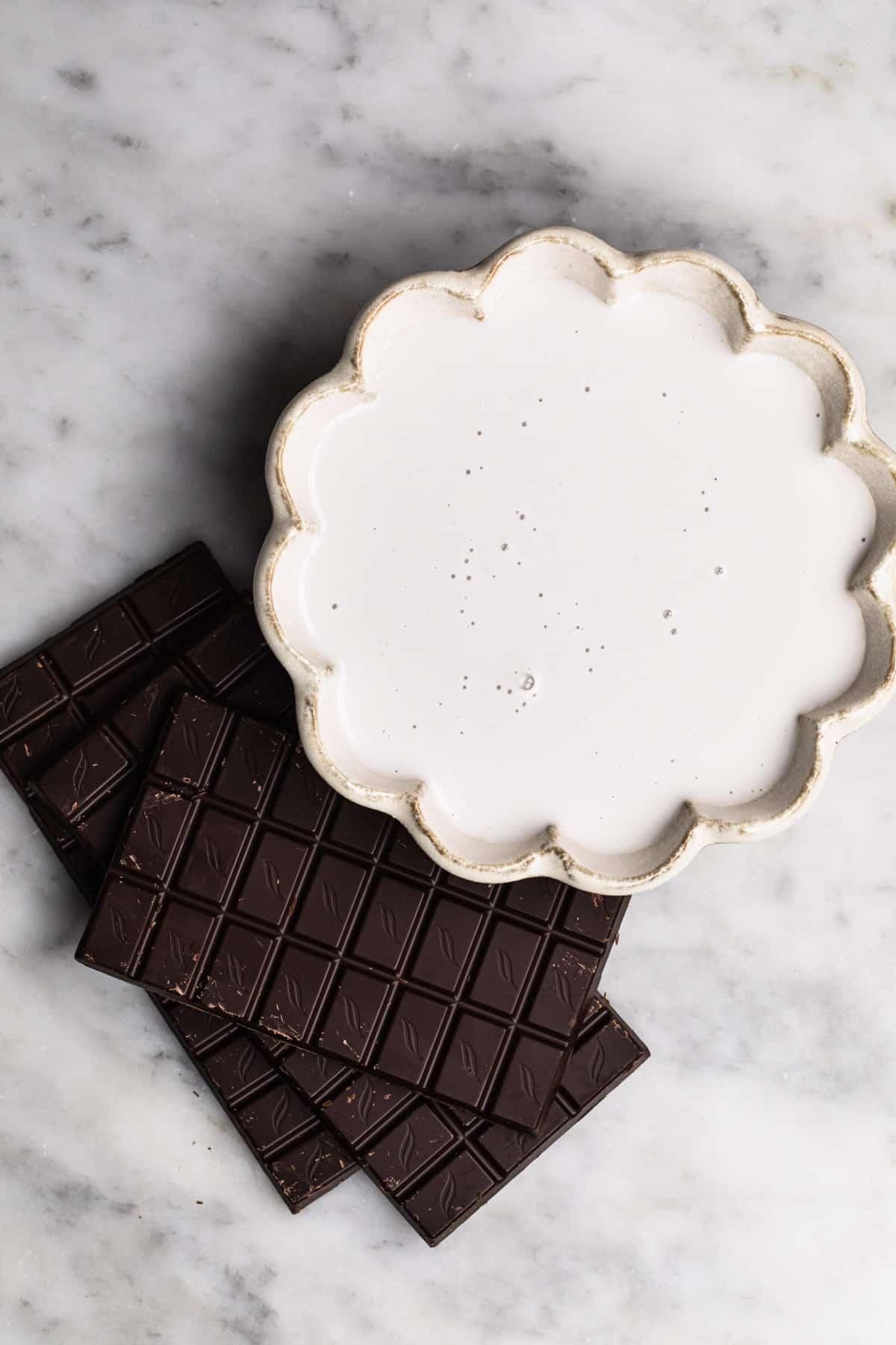 ingredients for vegan chocolate ganache